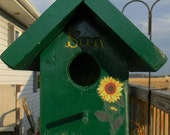 Birdhouse - Forest Green with Sunflower