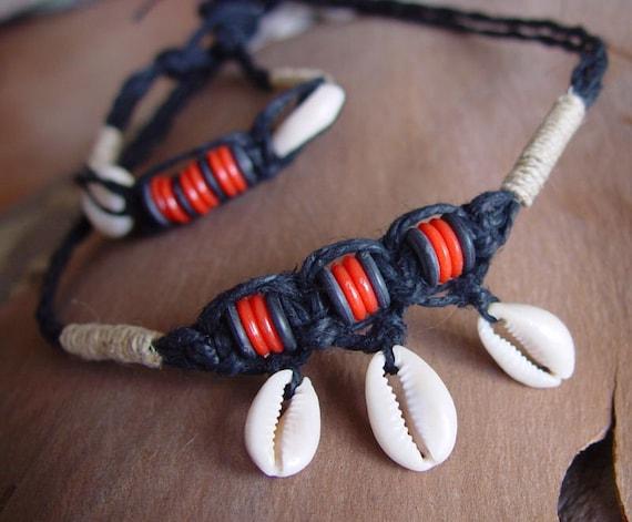 Shell Macramé Choker and Bracelet Set
