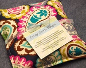 Heating Pad, Corn Bag, Microwavable Heat Pack, Hot Cold Therapy Pillow, Hand Warmer, Muscle Aches, Spa Gift -- Small 9x9 -- Paisley Party