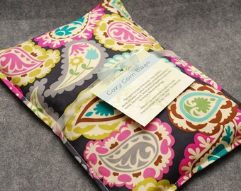 Microwavable Corn Bag Heating Pad - Paisley Party, Large Pillow 10 x 14