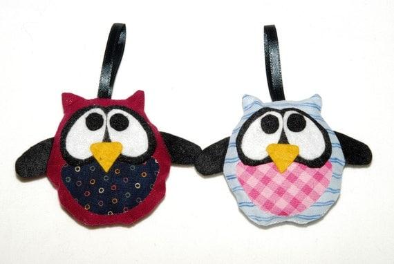 Two Stuffed Owl Decorations - Elena and Erik