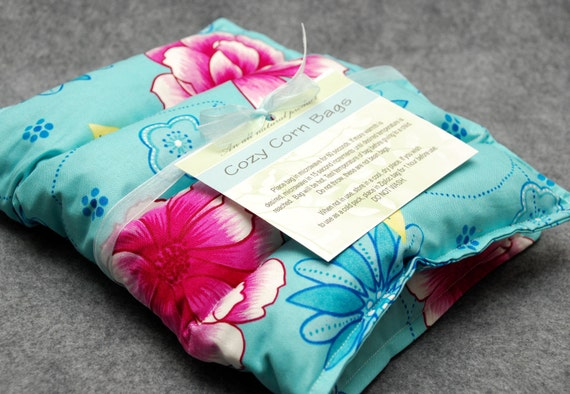 Microwavable Corn Bag Heating Pad / Ice Pack-- Tranquility, Back 10x16
