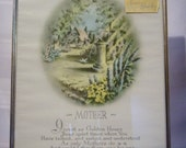 Vintage 1952 Pru-Lesco Framed Print with Poem To Mother, Mother's Day Gift Idea, Birthday Gift Idea, Christmas present