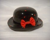 Enesco Hat Bank, Black with Red Bow and Polka Dots, 1985