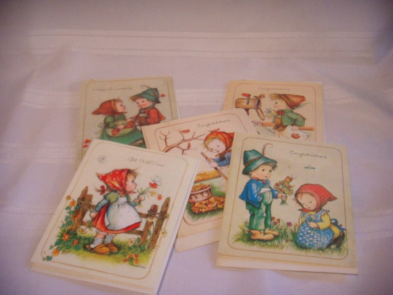 Vintage 1970s and 1980s Greeting Cards by AnneLiese, Little Helpers