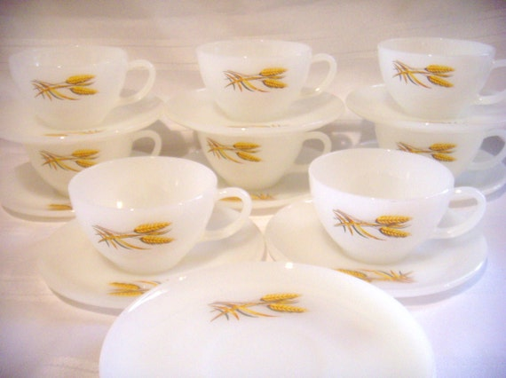 Vintage Milk Glass Cups and Saucers, Wheat Pattern, Anchor Hocking Fire King Oven Ware