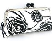 Black and White Flower Roses Clutch Handbag