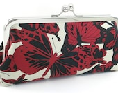 Silk Clutch Handbag Red and Black Butterfly Purse Evening Bag by Bag Boy