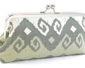 Ikat Clutch Purse Handbag - White and Taupe