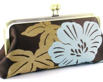Flower Clutch Bag - Blue Floral Evening Bag - Metal Frame Purse
