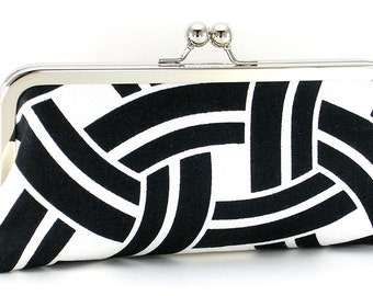 Black and White Geometric Clutch Handbag
