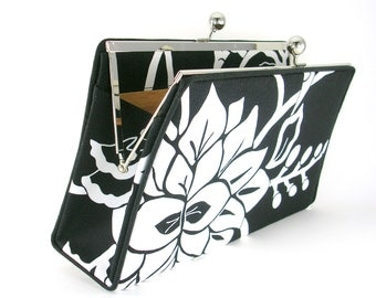 Black and White Floral Print Clutch Handbag - Golden Silk Lining - by Bagboy