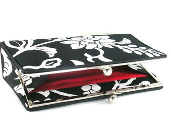 Black and White Floral Print Clutch Handbag - Red Silk Lining