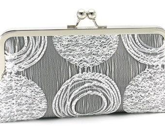 Silver Clutch Purse - Metallic Evening Bag -  Metal Frame Handbag - Bagboy