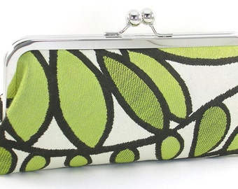 Clutch Bag - Green White Clutch Handbag - Leaves Clutch Evening Bag - Women's Handmade Metal Frame Clutch