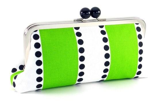 Black White and Green Clutch Handbag - Lime Bars - by Bagboy
