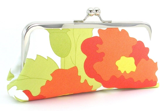 Poppy Flower -  Bridesmaids Clutch - Bridal Party Gift - Wedding Bag