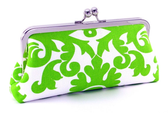 Green and White Scroll Clutch Handbag - Lime Scroll by Bagboy