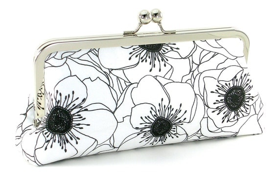 Black and White Anemones Flower Bridesmaid Clutch by Bagboy
