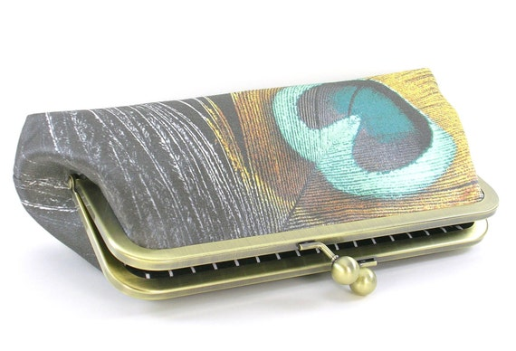 Feather Evening Bag Clutch - Peacock Silk Metal Frame Purse - Gold Bronze Teal Handbag - Special Occasion Bag