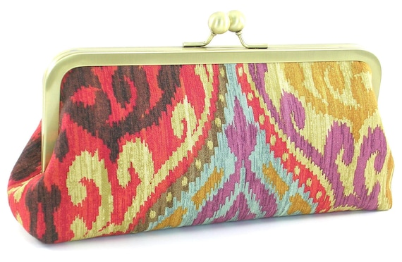 Clutch Purse - Ikat Handbag - Boho Evening Bag - Red Gold Turquoise - Metal Frame Clutches