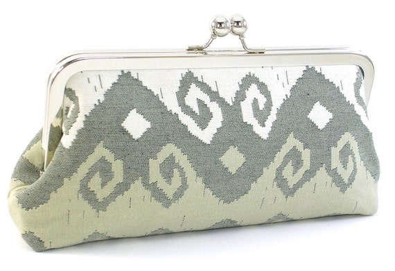 Ikat Clutch Purse Handbag - White and Taupe