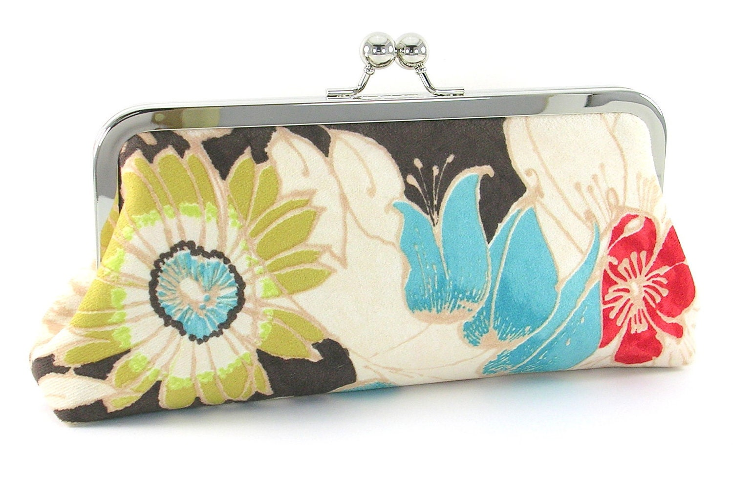 Flower Clutch Purse Green Turquoise Red Floral Evening Bag