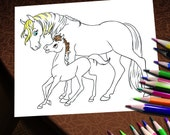 HORSES Coloring Book PDF format - Fun Funny Cartoon Horses Mother Colt Winking Running Horseshoes 6 pages Digital File Illustration Drawing