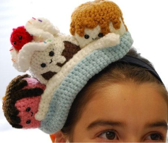 Crochet Banana Split  fascinator-headband