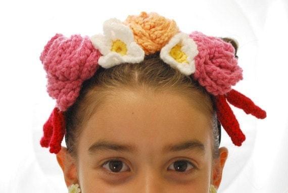 Frida Kahlo style crochet headdress