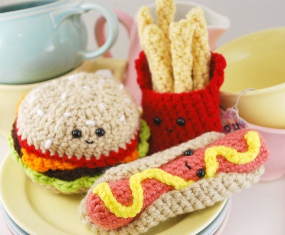 Amigurumi Fast Food : Amigurumi Fast Food Plush Collection by youcute on Etsy
