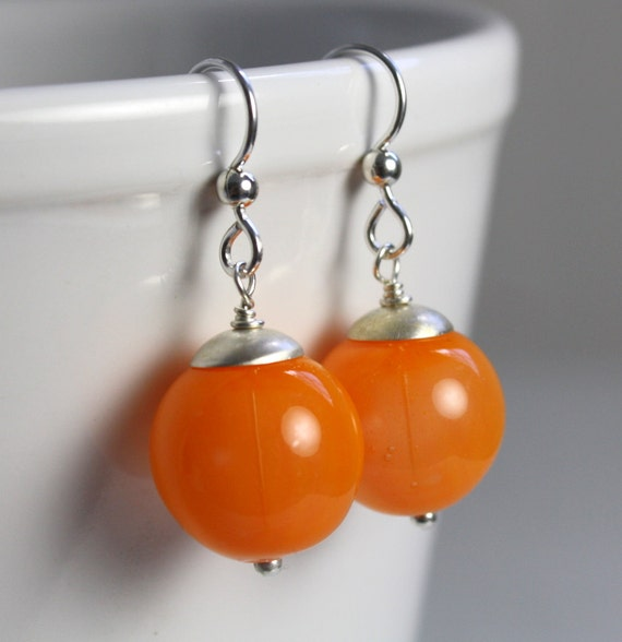 bright orange blown glass earrings