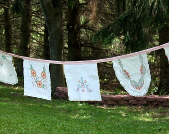 Antique Vintage Garland, Banner, Flags, Bunting, Embroidered Linens Floral