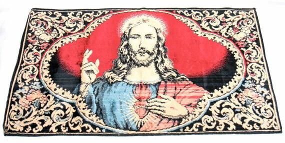 Vintage Retro Jesus Religious Wall Hanging Tapestry Velvet