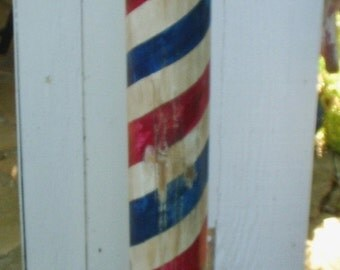 Wooden Barber Pole - Handcrafted - Mike's Barber Poles - Wood Pole - Hand Painted - Unique - Antiqued - Distressed - Handmade