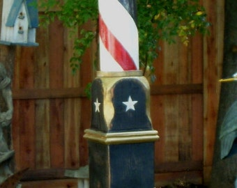 Barber Pole - Beauty Shop Supply - Supplies - Doctor - Dentist - Blood Letting - Rustic - Standing - Barber Poles - Patriotic - Antiqued