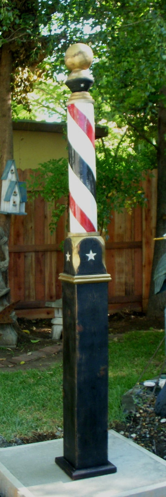 Handcrafted Tall Standing Barber Poles - Patriotic and Antiqued