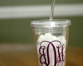 Monogrammed Double Insulated Plastic Cup with Lid and Straw