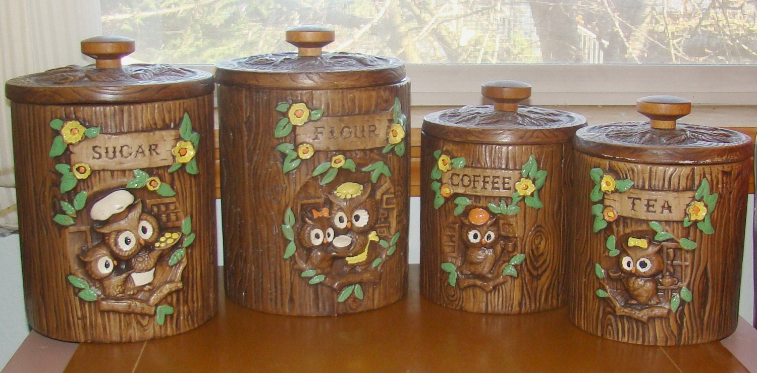 owl kitchen canisters vintage owl canisters treasure craft 14495