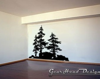 Vinyl Wall Decal - Pine Trees.  Removable wall decal