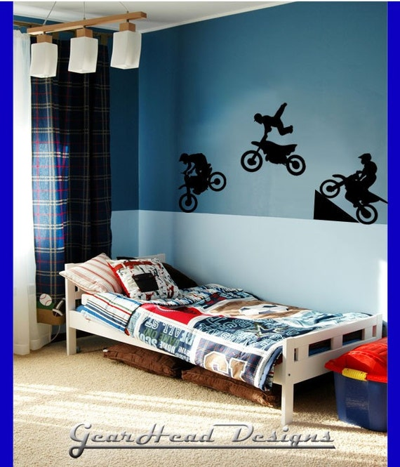 Dirt bike stickers by gearheaddesigns on etsy for Dirt bike bedroom ideas