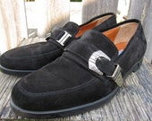 MENS VERSACE Black Suede Ornate Buckle LOAFER - Sz 7 Mens - Sz 9 Womens