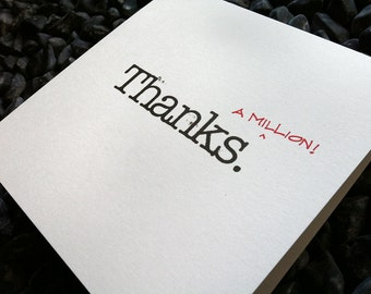 thanks a million : modern square greeting card / thank you card