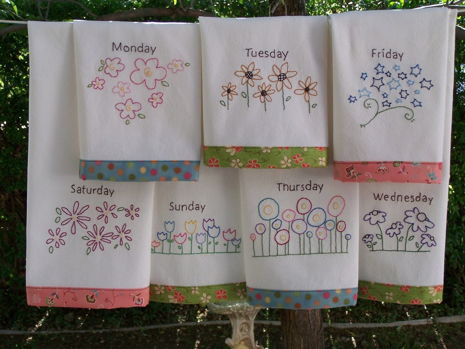 Flower Tea Towels Hand Embroidery Pattern Great In Red Work