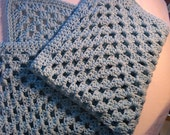 Baby Blanket Hand Crocheted in Blue