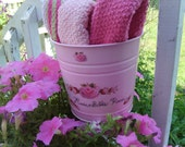SHABY CHIC  Sweet  Pretty  in Pink   Garden Decor Hanging  Planter   Roses   Cottage  Chic    Ooak