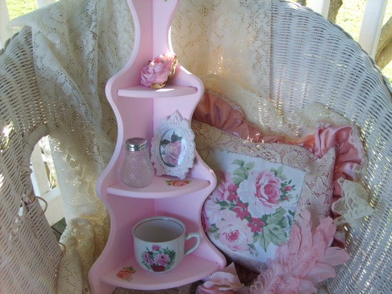 SHABBY CHIC  French  Pink   Corner  Shelf   Candy Pink  Roses  Home Decor  Cottage Chic  Ooh  La La