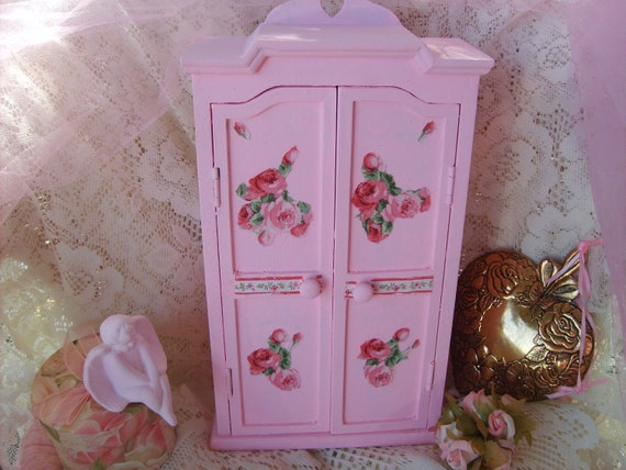 SHABBY CHIC PINK  Vintage Style  LiL Cabinet  French Market  Romantic Home Decor Roses Marie Antoinette Ooh La La