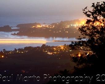 "Brookings Harbor at Night, Photograph, Presented as an 8"" x 12"" Print"