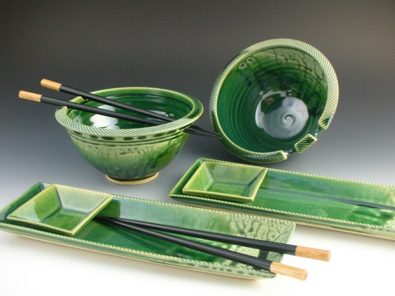 Rice bowl / noodle bowl  / Sushi tray  / Gift set - Green